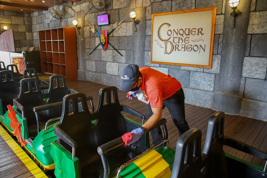 LEGOLAND Malaysia Resort team members are trained to sanitize rides between guests.