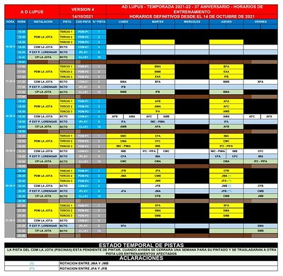 2021-22 HORARIOS ENTRENAMIENTOS V-4 - 14 OCT