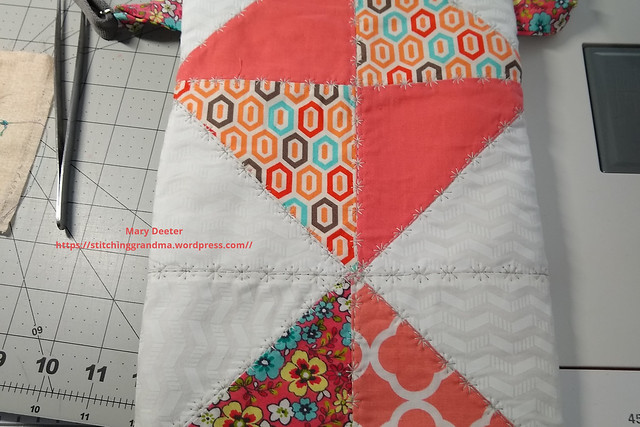 close up of the quilting