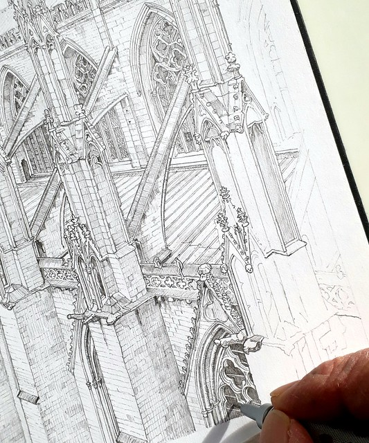 The Two Towers: 14th century window tracery (WiP 6)