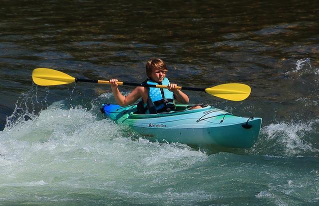 Kayaker on Buffalo River - Steel Creek Campground, Northwest Arkansas