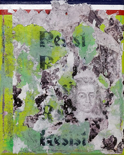 Zavier Ellis 'Resist (Tricolour)', 2021 Acrylic, emulsion, ink, pencil drawing, collage on canvas 30x24cm
