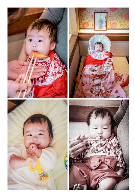 お食い初め 100日祝い きょとんとした顔の赤ちゃん