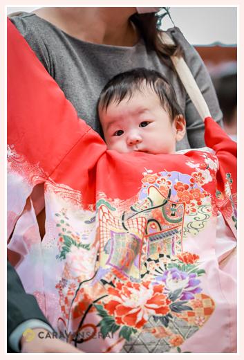 お宮参り 生後100日の赤ちゃん 赤のお祝い着(産着)