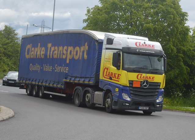 Clarke Transport YG68 DDF Driving Along the A5 At Oswestry