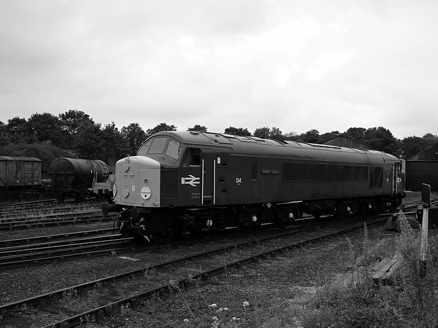 Class 44 Diesel Locomotive, 'Great Gable' negotiating the sidings at Wansford, Nene Valley Railway, Three Peaks Challange. 10 10 2021 bw