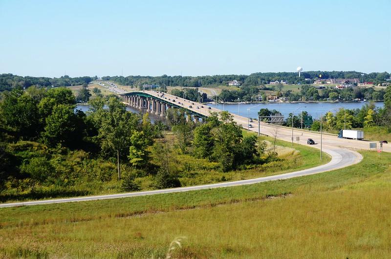 Mississippi River bridge from Fred Schwengel Memorial Bridge Overlook
