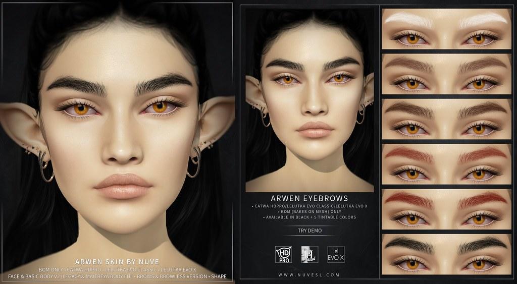 Arwen skin and eyebrows – Catwa HDPRO/Lelutka Evo Classic/Lelutka Evo X