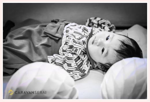 100日の赤ちゃん 服装は袴ロンパース