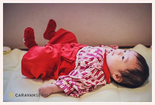 100日祝い 衣装は大正ロマン風袴ロンパース 女の子赤ちゃん
