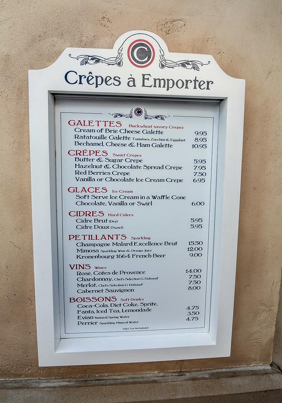 Crepes a Emporter menu Epcot France