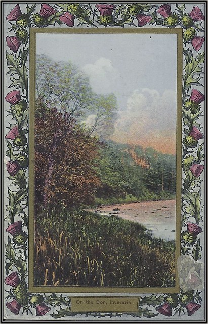 c. 1911 D. & S. K. Ideal Series Postcard (180242) with Thistle Border - View of the Don River at Inverurie, Scotland