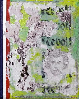 Zavier Ellis 'Revolt (Tricolour)', 2021 Acrylic, emulsion, ink, pencil drawing, collage on canvas 30x24cm