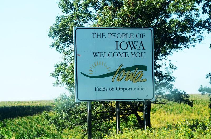 I-80 Iowa Welcome Sign