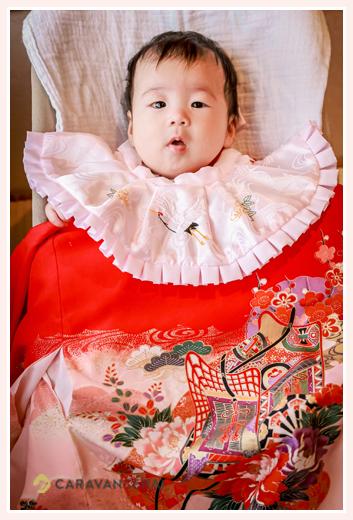 お宮参り写真 女の子赤ちゃん 生後100日