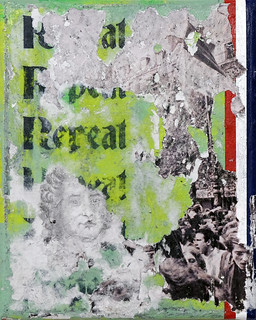 Zavier Ellis 'Repeat (Tricolour)', 2021 Acrylic, emulsion, ink, pencil drawing, collage on canvas 30x24cm