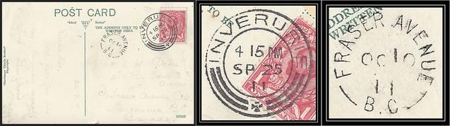 British Columbia / B.C. Postal History - 25 September / 10 October 1911 - Inverurie, Scotland to FRASER AVENUE, B.C. (split ring / broken circle cancel / postmark)