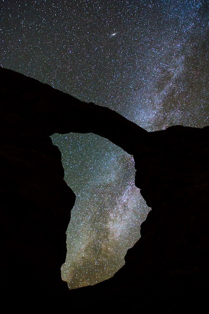 Andromeda and the Milky Way through Turret Arch, Arches National Park