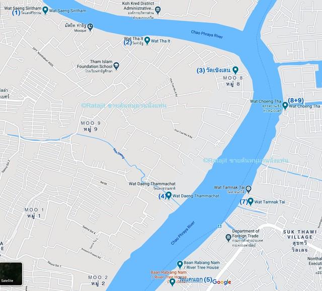 แผนที่ 9 ที่เที่ยวรอบนอกเกาะเกร็ด นนทบุรี