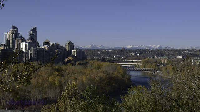 morning view of the rocky mountains from calgary