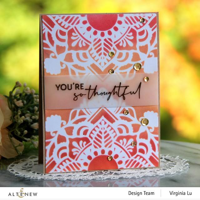 Altenew-Summer Fun Pigment Ink Bundle -Henna Square Stencil -BAF-AfricanDaisy-Nesting Slim Rectangles Die