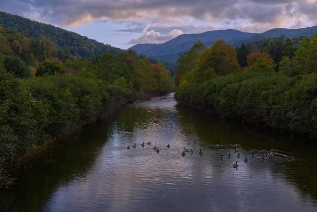 East Fork Pigeon River from Lake Logan Bridge