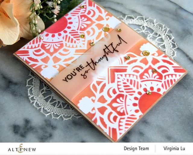 Altenew-Summer Fun Pigment Ink Bundle -Henna Square Stencil -BAF-AfricanDaisy-Nesting Slim Rectangles Die-002