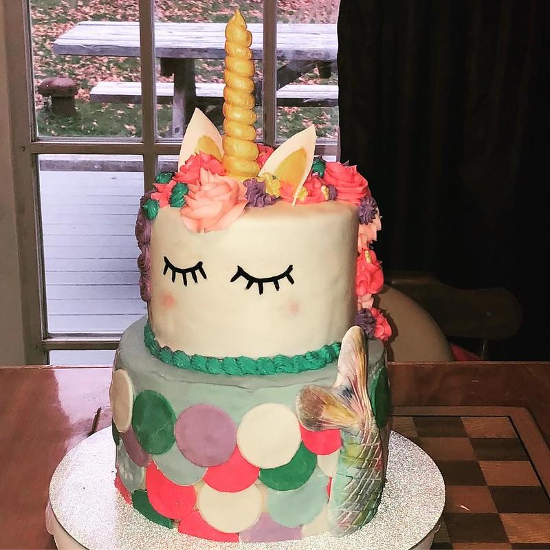 Mermaid and Unicorn Cake by Kendra's Cookie Jar
