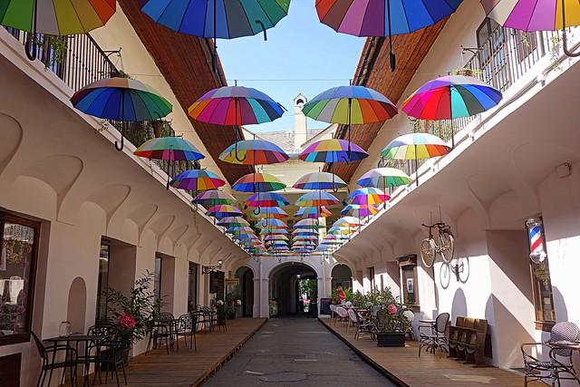 street under the umbrellas