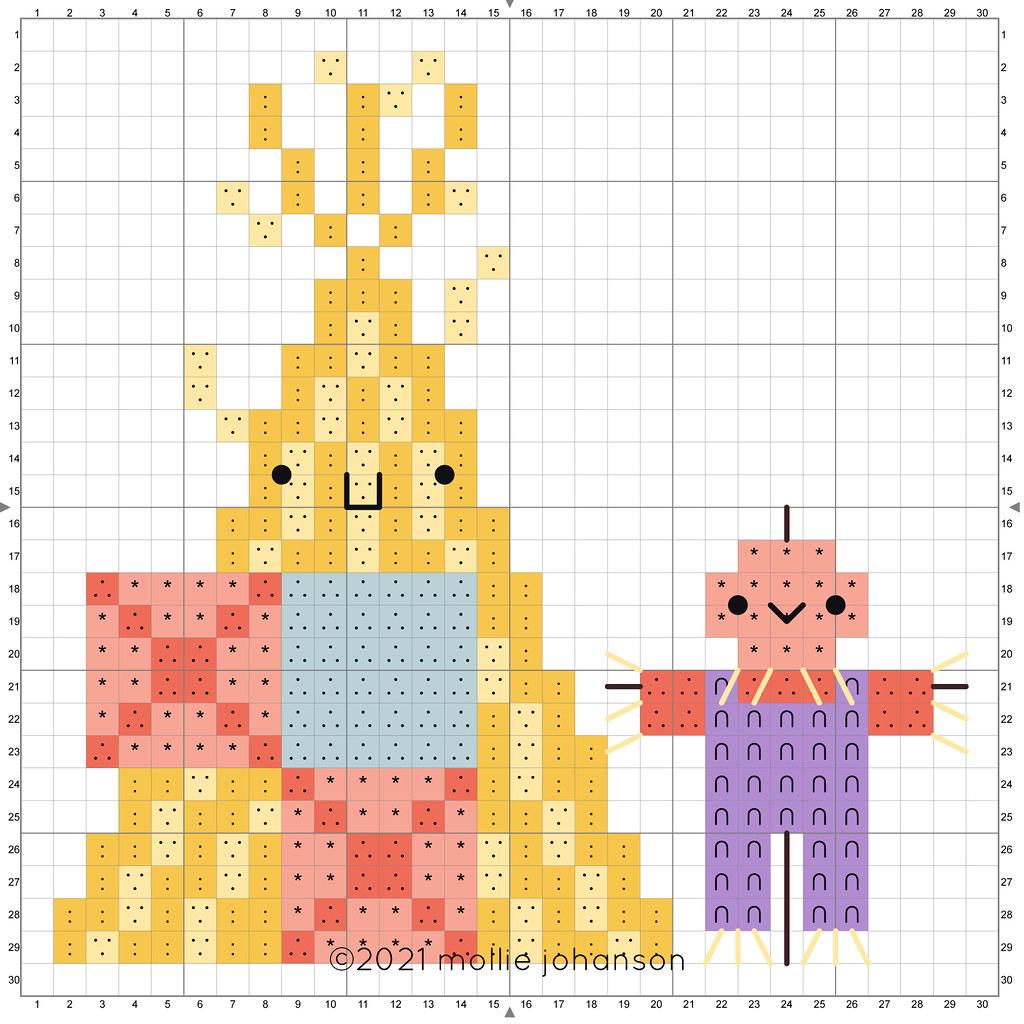 2021 October Gourdeous Corn Shock A-Frame Cross Stitch Chart