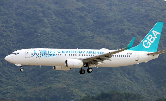 Greater Bay Airlines B737-800 B-KJA landing HKG/VHHH