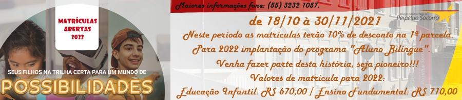 Colégio Perpétuo Socorro - Matrículas abertas 2022