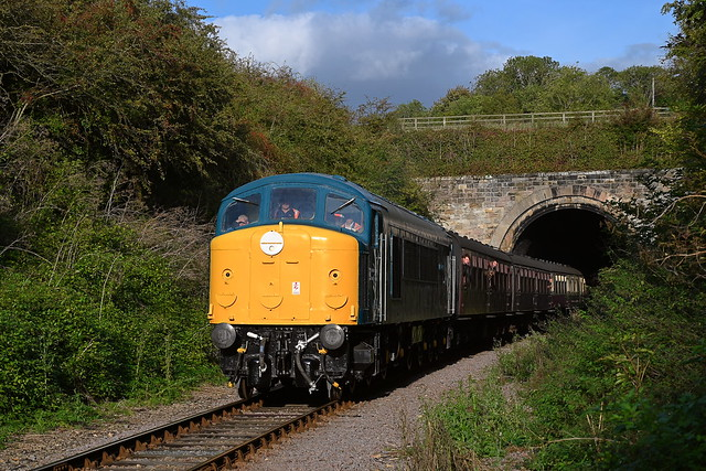 Class 44 Diesel Locomotive, D4 'Great Gable' emerges from Wansford Tunnel, on the last service of the day, the 16.20 off Wansford. Nene Valley Railway, Three Peaks Challange. 10 10 2021