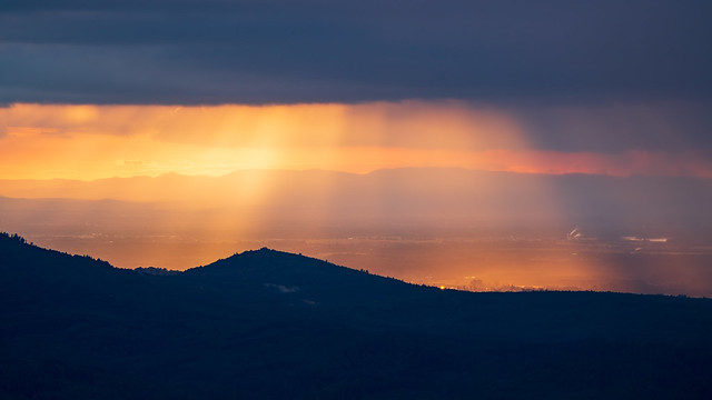Breathtaking play of colours during the golden hour over the Rhine plain in the northern Black Forest and in Alsace