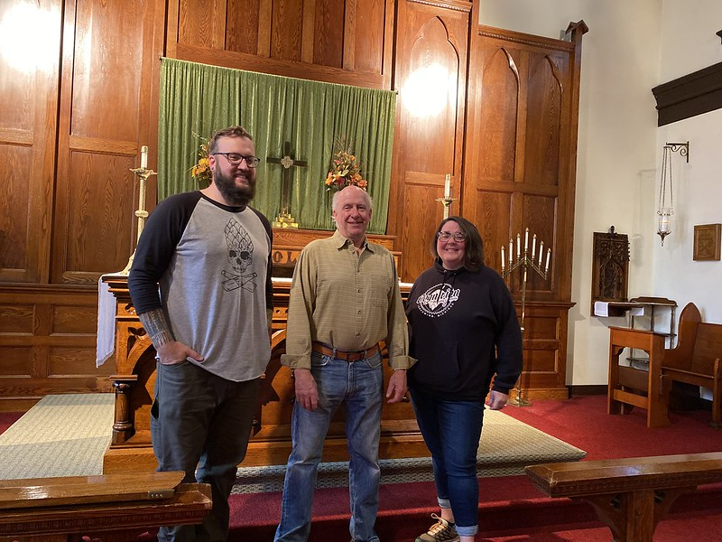 Kris Thompson (Head Brewer), Jay Clancey (Owner) and Lydia Kelsey Bucklin (Episcopal Diocese of Northern Michigan),