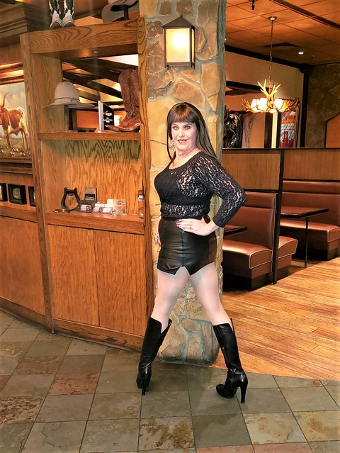 Leather Mini Skirt, Lace Top, & Boots!