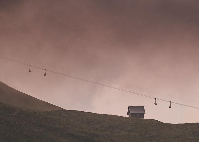 foggy cable car