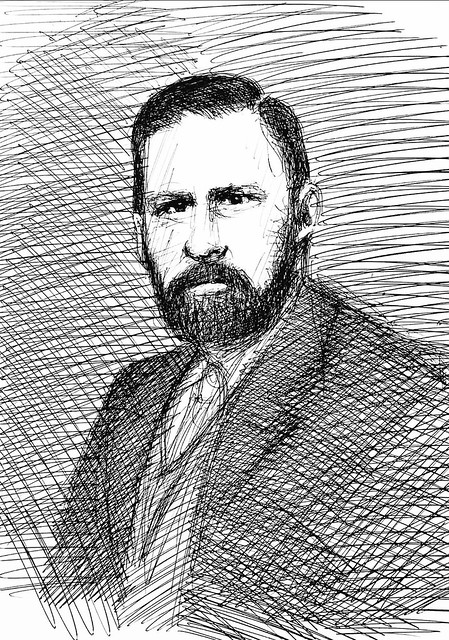 Ballpoint pen only portrait sketch by jmsw on card, of Abraham Stoker, 1847-1912, Irish Author of the novel ( Dracula's 1897) .