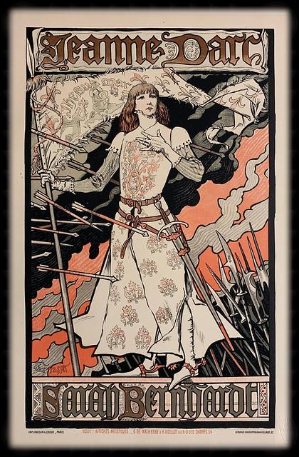"""""""Joan of Arc"""" with Sarah Bernhardt.  Poster for the Renaissance Theatre, Paris by E. Grasset. Lithograph published by Les Maitres de l'Affiche (1899)."""