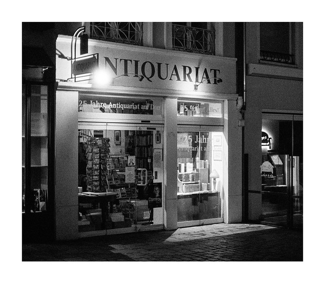 Antiquarian bookstore at night