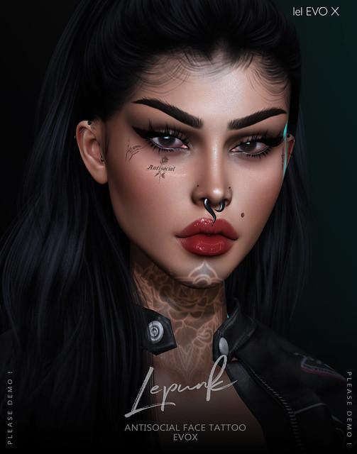 [ LEPUNK ] Antisocial Face Tattoo +EVOX+ BOM @ Mainstore