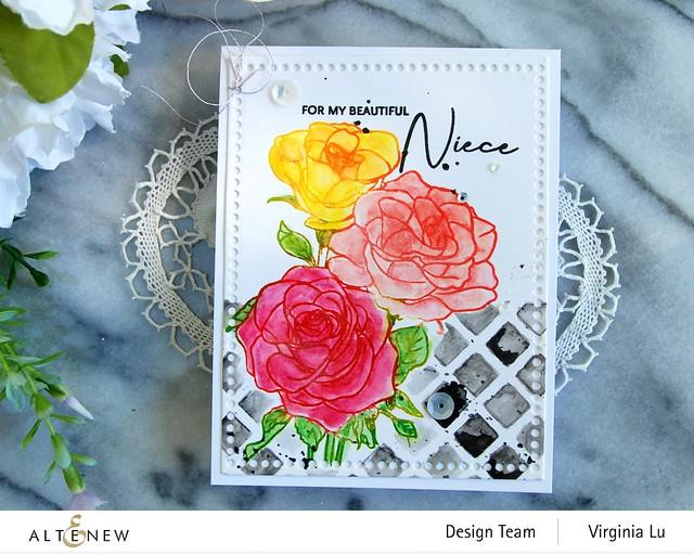 Altenew-PAF Rosa Floribunda-Watercolor Woodless Pencils-Trellis Stencil-Mix & Match Frame Die-003