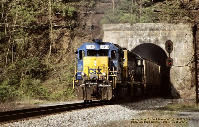 (SEE & HEAR)---CSX 8019-8413, G680, Big Bend tunnel, WV. 4-23-2004