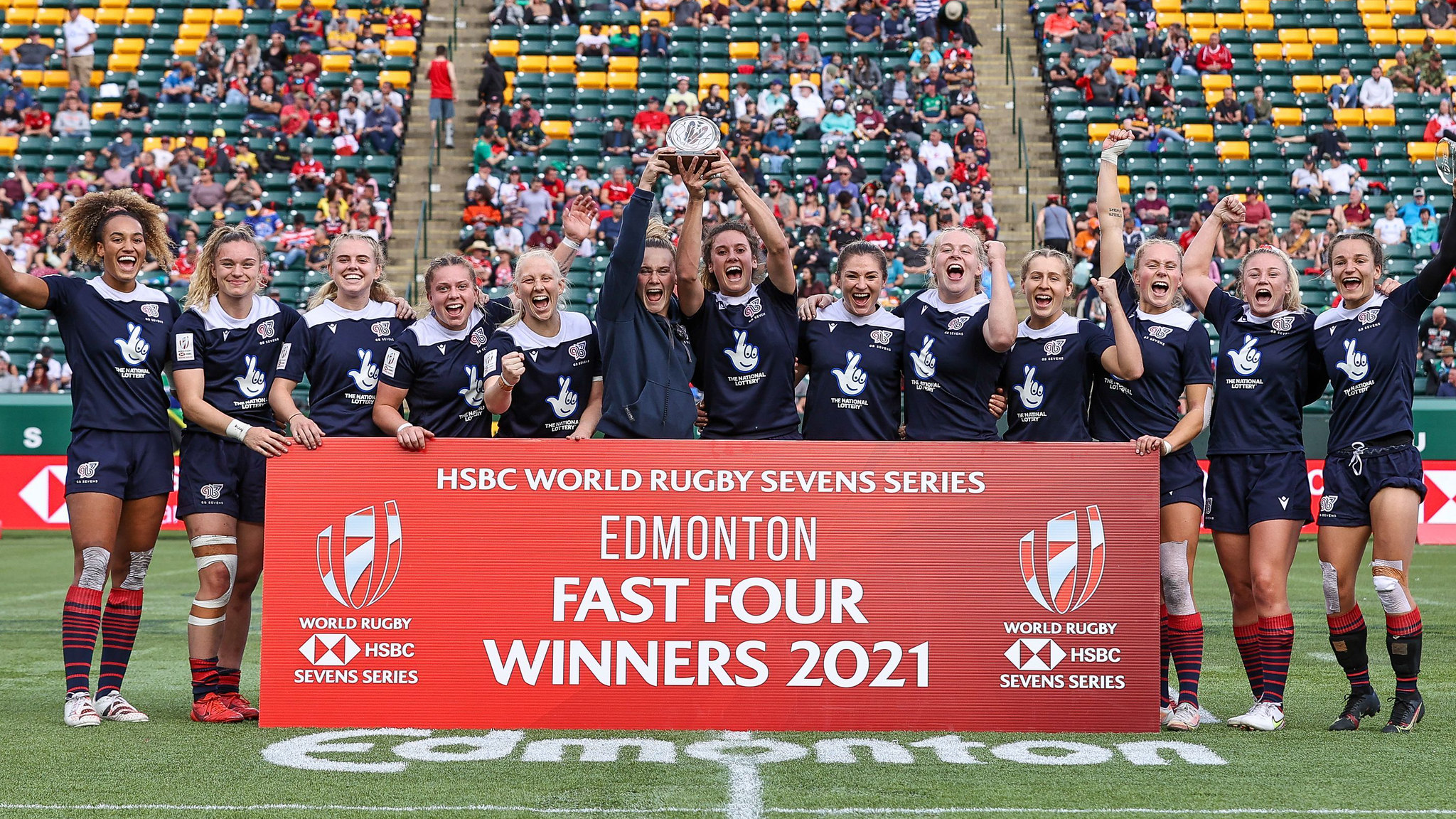 The GB Rugby 7s squad celebrate their win in Edmonton.
