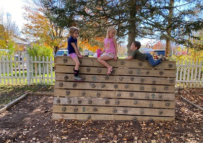 chatting on the climbing wall