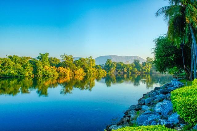 Morning on the River Kwae Yai at Felix River Kwai Resort Hotel in Kanchanaburi, Thailand