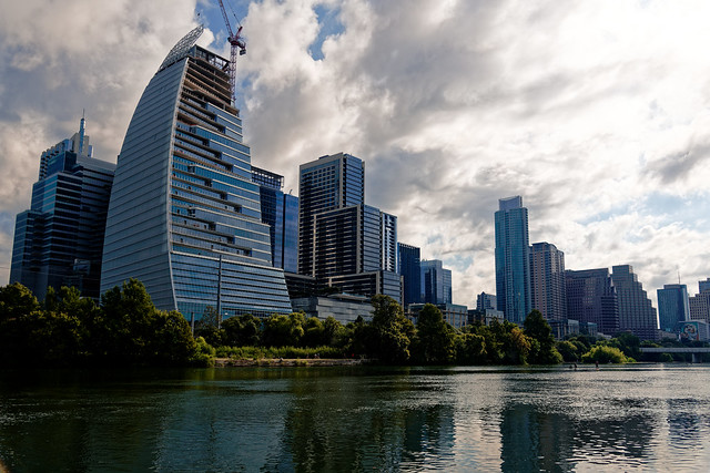 The Ever-changing Austin Skyline of Buildings While Walking Along the Hike and Bike Trail of Lady Bird Lake