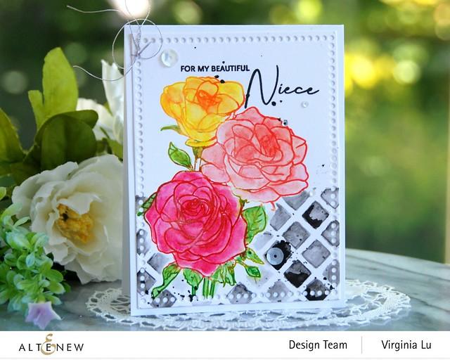 Altenew-PAF Rosa Floribunda-Watercolor Woodless Pencils-Trellis Stencil-Mix & Match Frame Die