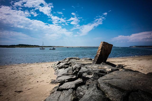 Cape cod beach and pier in wellfleet
