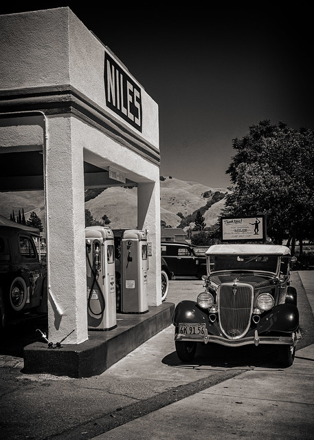 At the Pumps, Niles Station #2 B&W